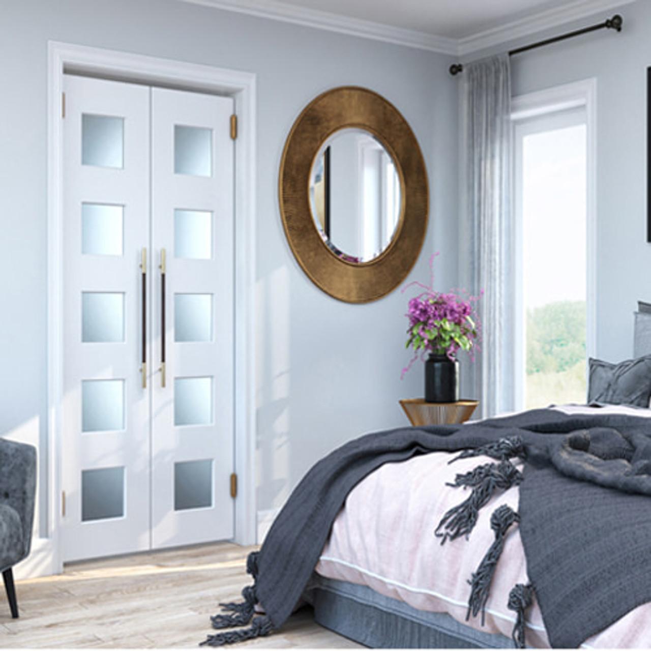 Modern Contemporary Double Swinging Glass Interior Doors