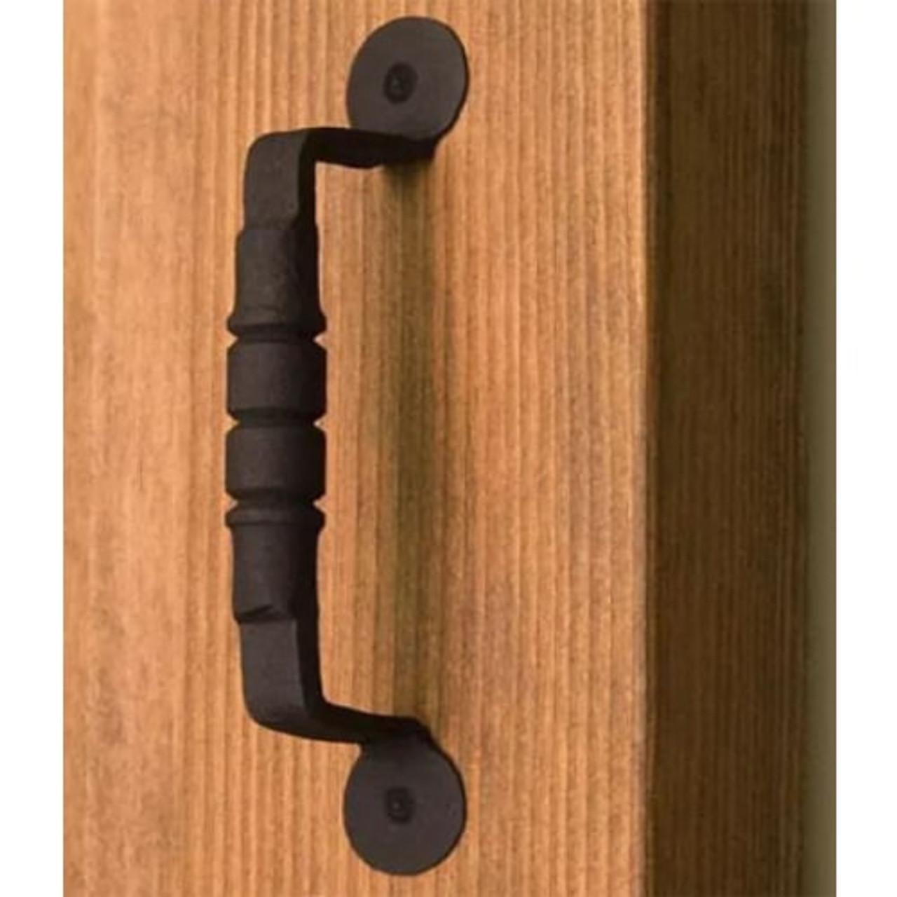 Ridged Iron Door Pull- Black
