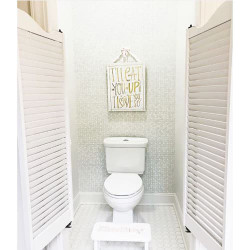 Water Closet- Louvered Cafe Doors: Designer- The Porch Place