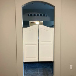 Finished Arch Top Farmhouse Saloon Doors- Master Bathroom