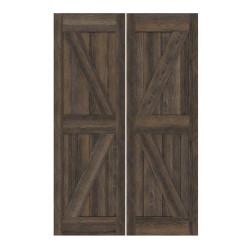 Double Interior Barn Style Doors- British Brace Rustic Alder- Custom Finishing