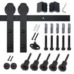 "Barn Door Hinges | Barn Door Hardware ""I"" Style - Frosted Black"