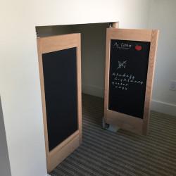 Oak Chalkboard Cafe Doors Installed