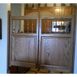 Western Spindles Saloon Doors with Trim Boards Installed