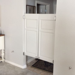 Finished White Cafe Doors Installed with Spring Hinges