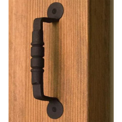 Ridged Iron Door Pull- Black