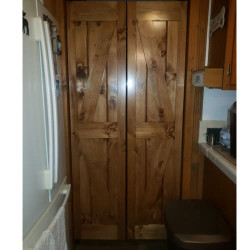 Interior Barn Doors- Diamond Design- Pine Stained Early American