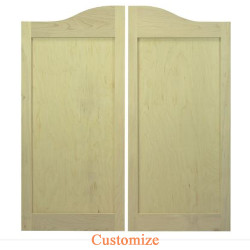 Arch Top Maple Shaker Style Flat Panel Cafe Doors / Saloon Doors