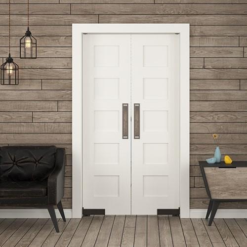 Modern Equal 5 Panel Solid Wood Double Swinging Interior Doors