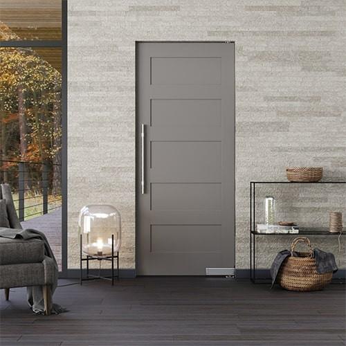 Mid Century Modern Single 5 Equal Panels Wood Interior Door
