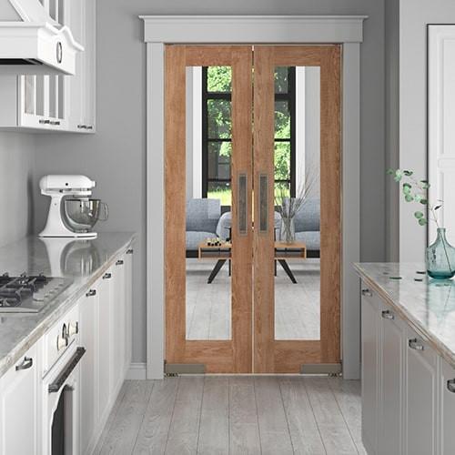 Modern Double Swinging French Doors | Interior Glass Doors