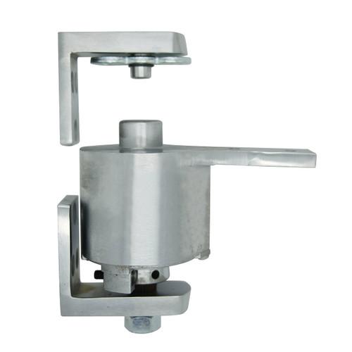 "Bommer Brass Surface Adjustable Spring Pivot Hinge | Saloon Doors/ Swinging Cafe Doors - 36"" Wide Doors shown in Satin Chrome"