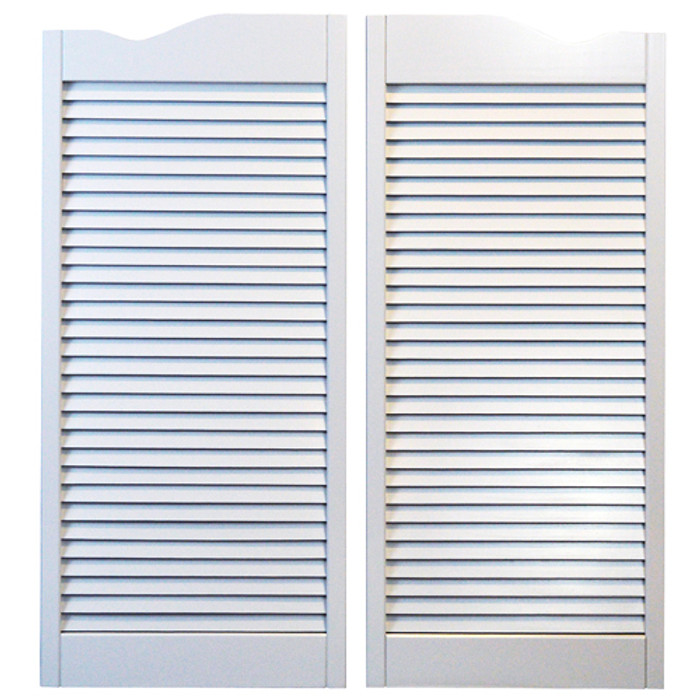 "Louvered White Cafe Doors 32"" Door Opening"
