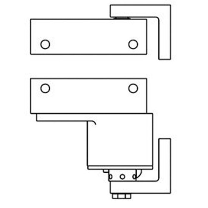 "Bommer Brass Surface Pivot Box Clamp and Jamb Brackets | Swinging Cafe Doors / Saloon Doors - 36"" Wide Doors"