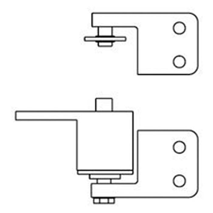 """Bommer 7411 Gravity Brass Surface Pivot Box Clamp Jamb Bracket   Swinging Cafe Doors / Saloon Doors 30"""" Wide Door"""