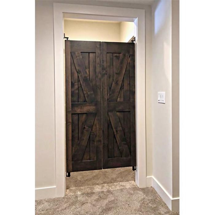 Installed Barn Doors- Swinging Cafe Doors- Rustic Alder stained