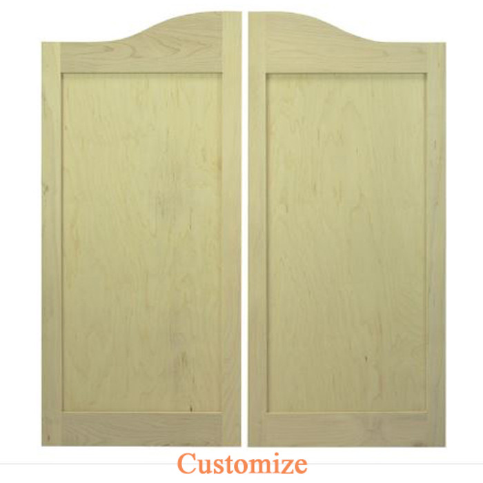 Arch Top Maple Shaker Style Flat Panel Cafe Doors / Saloon Doors