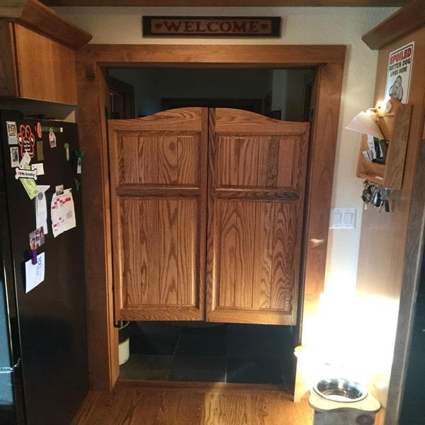 Kitchen Saloon Doors - Arch Top Raised Panel Saloon Doors