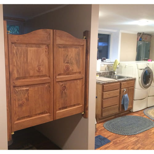 Laundry Room Saloon Doors with Trim Boards