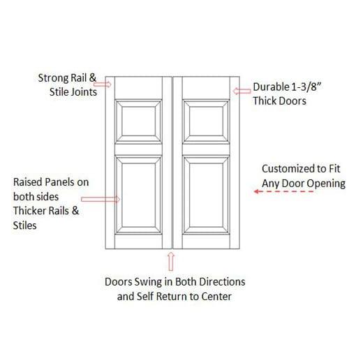 Commercial Colonial Saloon Doors Specs
