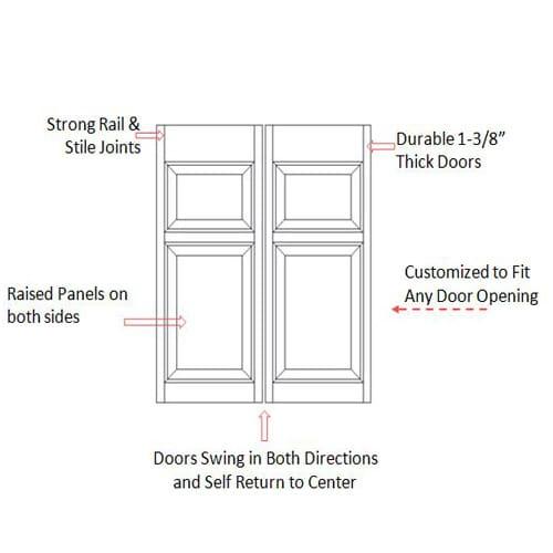 Colonial Raised Panel Saloon Doors Specs