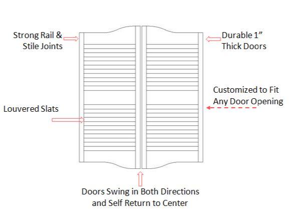 Single Cottage Louvre Saloon Door Door Specifications