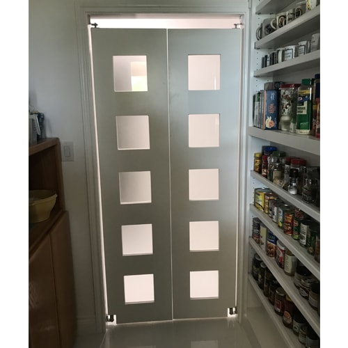 Modern Contemporary Glass Double Swinging Doors