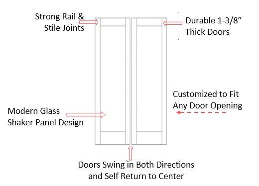Double Glass Panel Half Swinging Doors