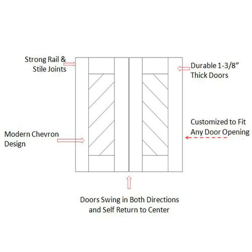 Modern Contemporary Chevron Swing Door Specs