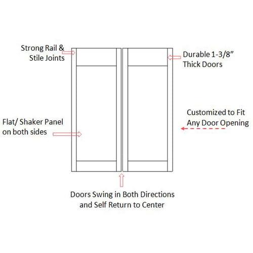 Modern Flat Panel Cafe Doors Specs