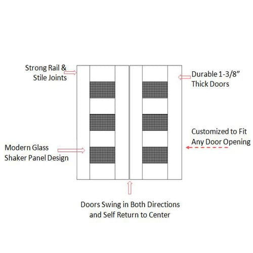 Modern Double Swing Door- Glass Inserts Specs