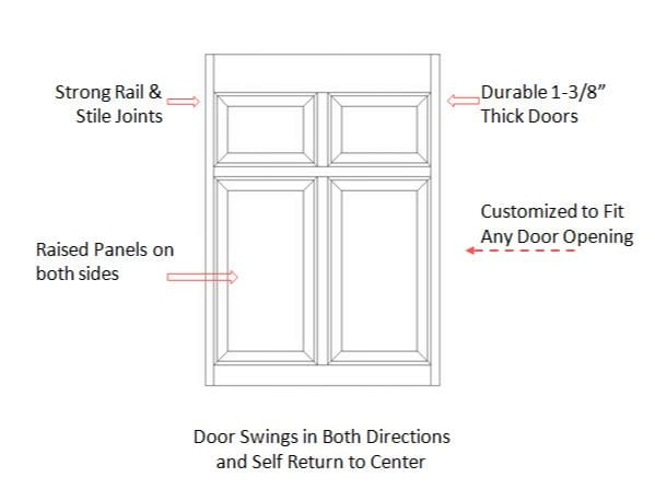 Single Colonial Saloon Door Specifications