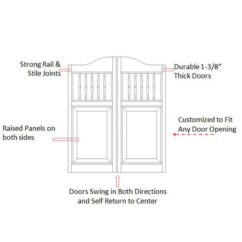 Western Spindle Saloon Doors Specs