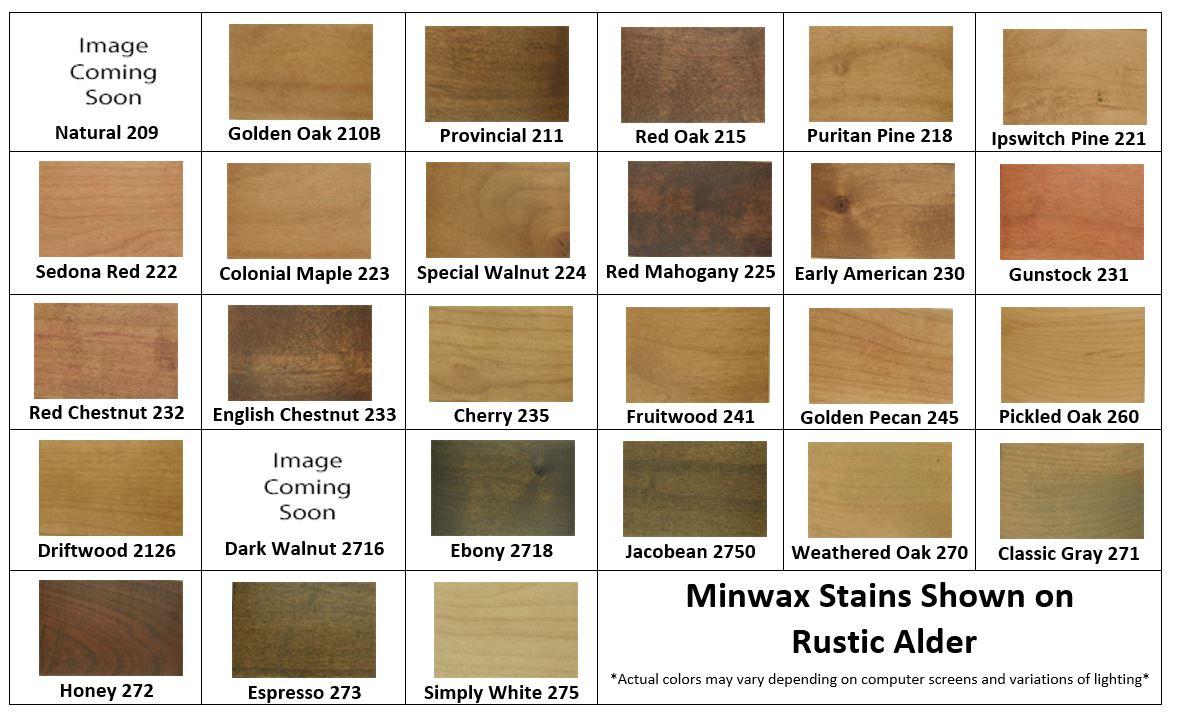 Rustic Alder Minwax Stain Samples