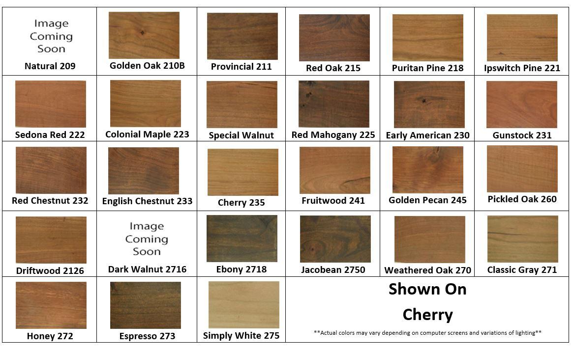 Cherry Minwax Stain Samples