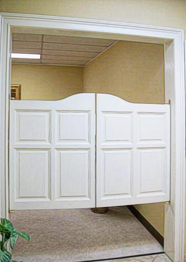 Wide Saloon Doors- Arch Top Raised Panel Saloon Doors