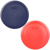 Pyrex 7402-PC 6 Cup 1 Red 1 Blue Round Plastic Storage Lids - 2 Pack