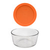 Pyrex 7201 4-Cup Round Glass Food Storage Bowl w/ 7201-PC 4-Cup Orange Lid Cover