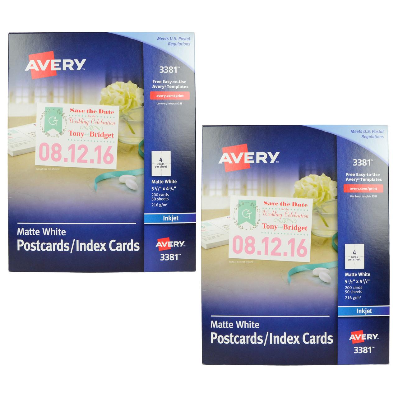 Avery 3381 Inkjet Postcard / Index Cards Bundle Office Items
