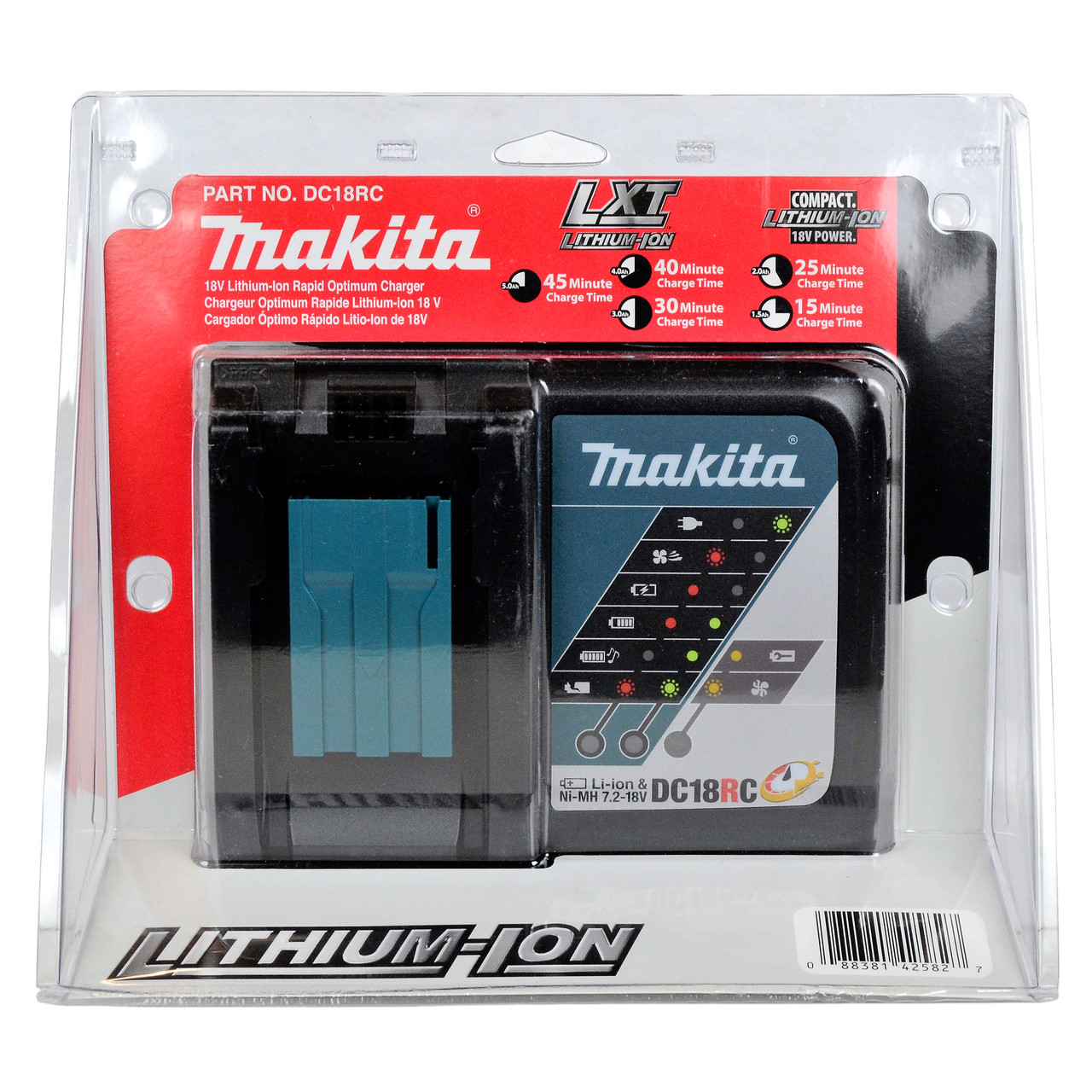 Makita Dc18rc 72 18 Volt Li Ion Battery Charger In Retail Packaging Lithium 18v
