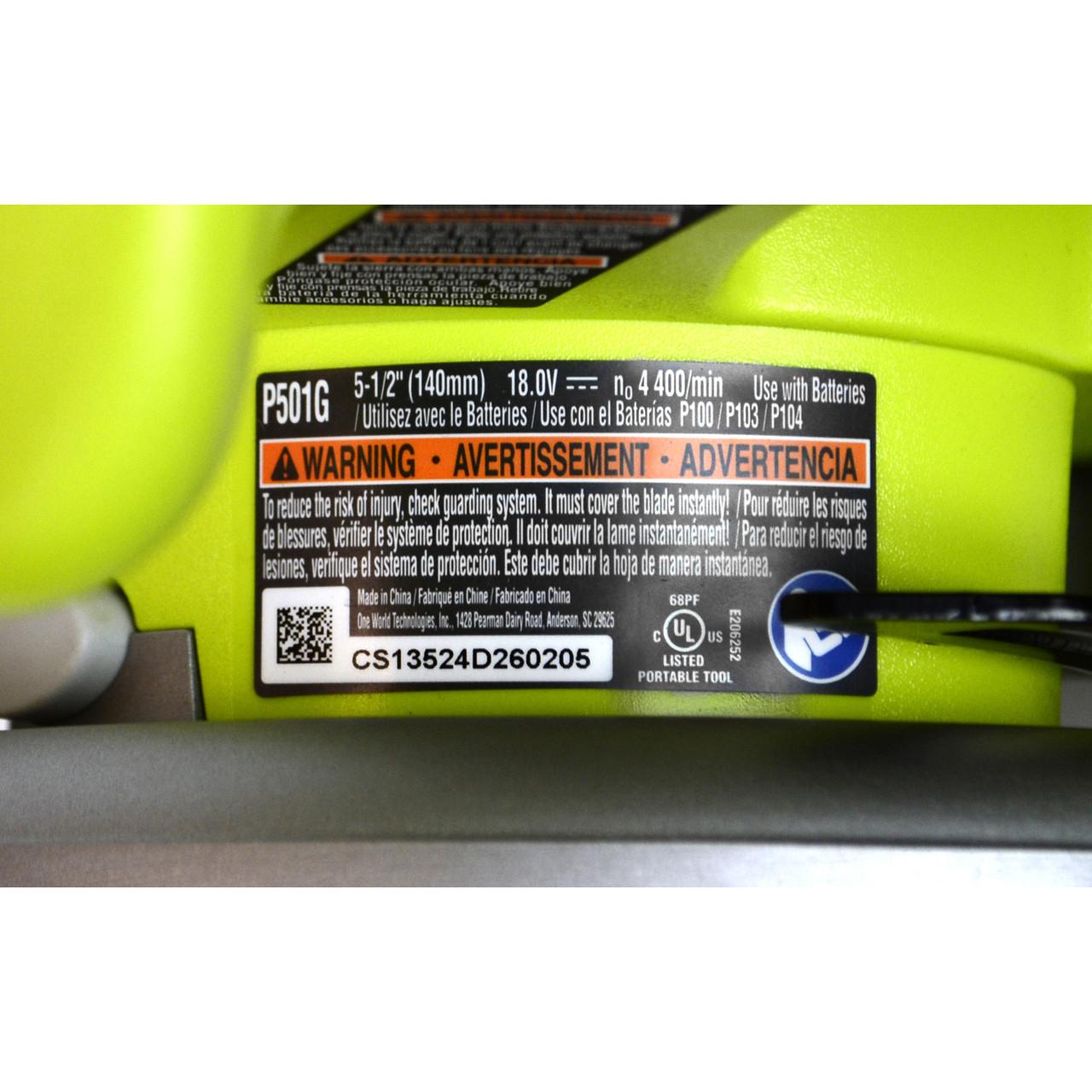 """Ryobi P501G 18V 5-1//2/"""" Cordless Circular Saw uses P102 P103 P104 P105 P107 P108"""