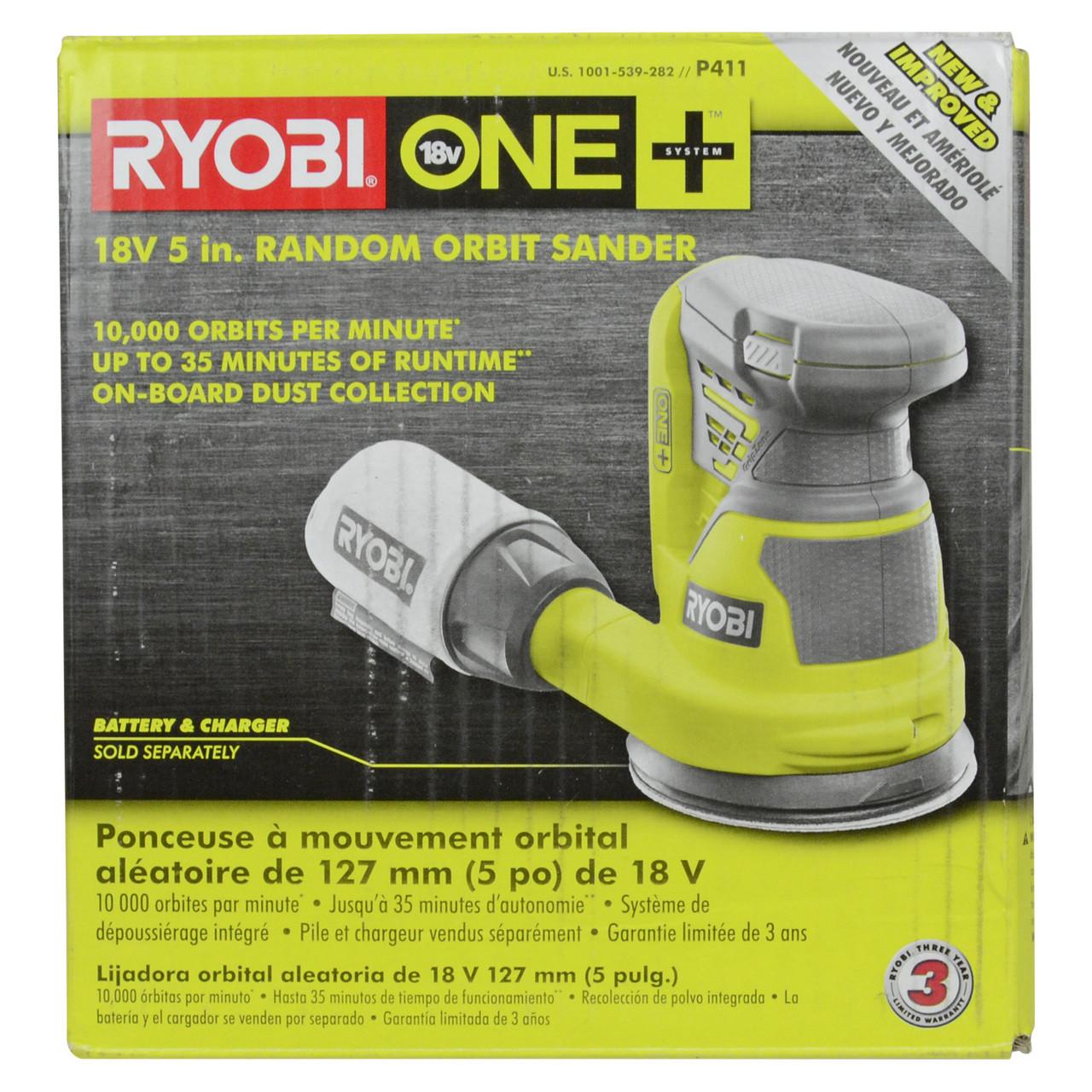 Tool-Only Lithium Ion Cordless Ryobi 18-Volt 10 in Green Orbital Buffer