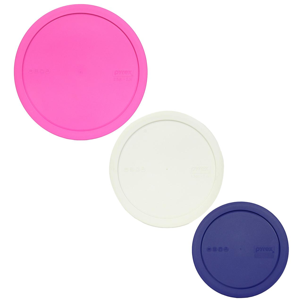 2 Pack Pyrex 323-PC 1.5 Quart White Round Plastic Mixing Bowl Lid