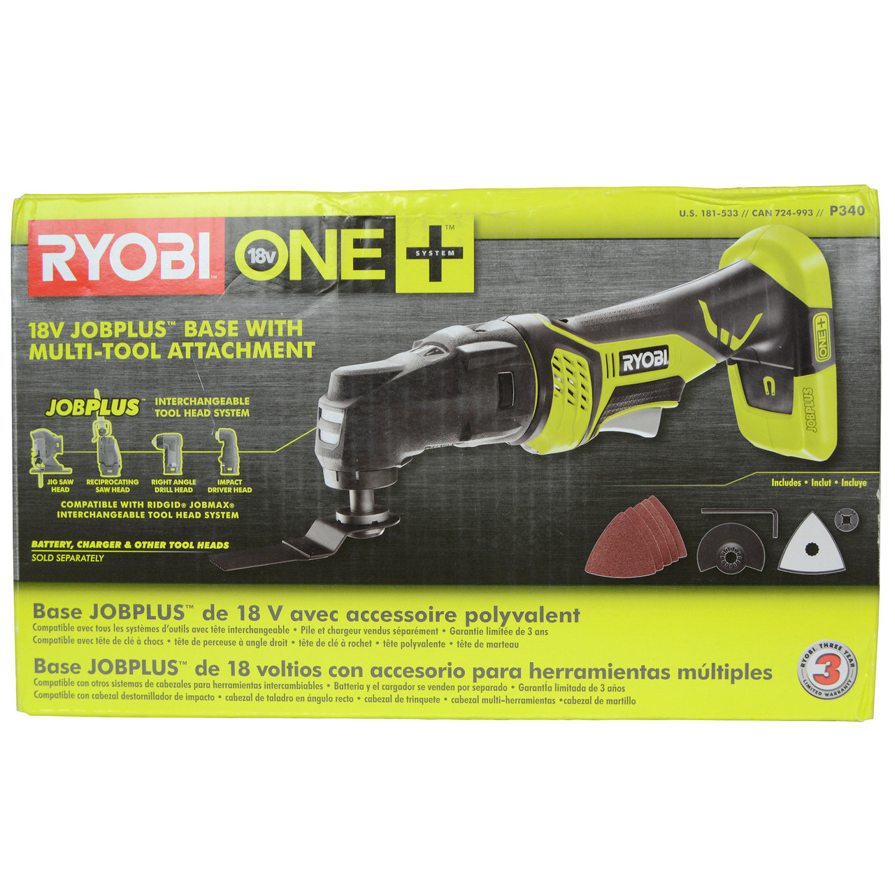 Ryobi P340 ONE+ 18V Lithium-Ion Job Plus Multi Tool, Tool Only