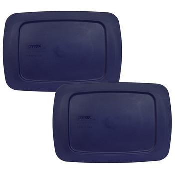 Pyrex C-213-PC Blue 1.5 Quart, 1.4 Litre Easy Grab Rectangle Plastic Replacement Lid - 2 Pack