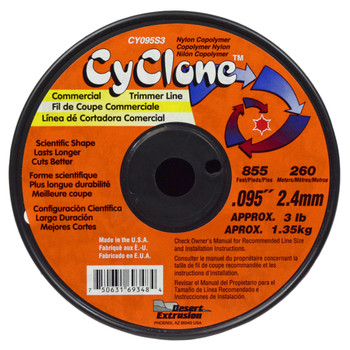 """Cyclone CY095S3 0.095"""" 855ft Orange Commercial Trimmer Line"""