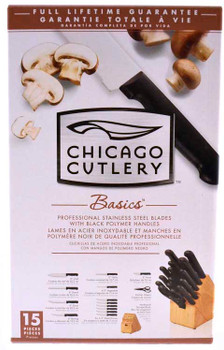 Chicago Cutlery Basics 15-Piece Professional Knife Block Set with Black Polymer Handles