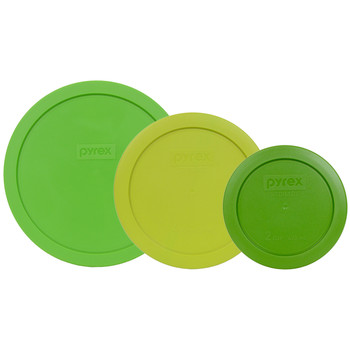 Pyrex 7402-PC Green 7201-PC Edamame 7200-PC Lawn Green Round Plastic Lids