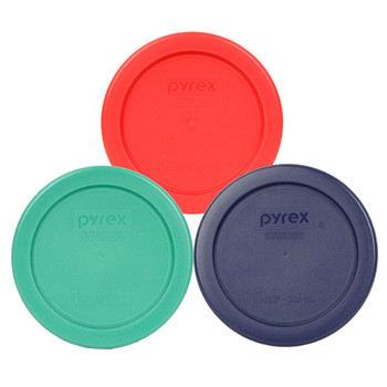 Pyrex 7202-PC 1 Cup (1) Blue, (1) Red, and (1) Green Round Plastic Covers - 3 Pack