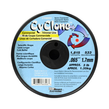 """Cyclone CY065S3 0.065"""" 1,815ft Blue Commercial Trimmer Line Made in USA"""